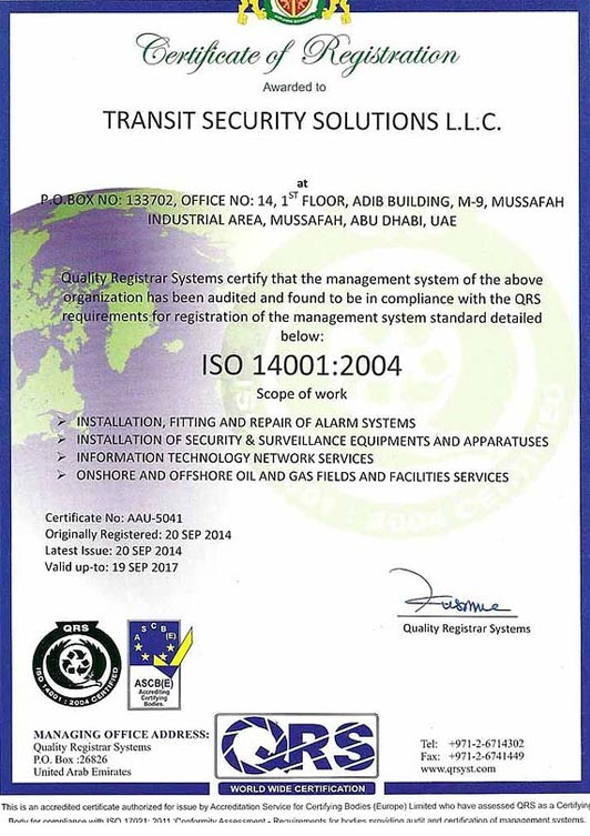 Transit Security Solutions LLC, Security system supplier in Abu